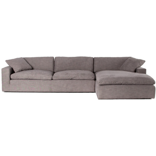 Plume Grey Upholstered Block Arm Large Sectional Sofa 136""