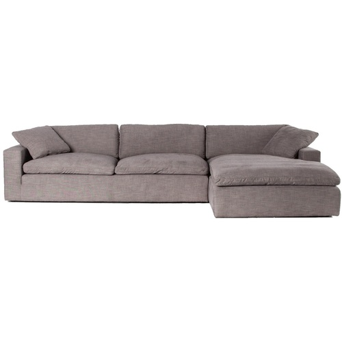 """Plume Grey Upholstered Block Arm 2-Piece Sectional Sofa 106"""""""