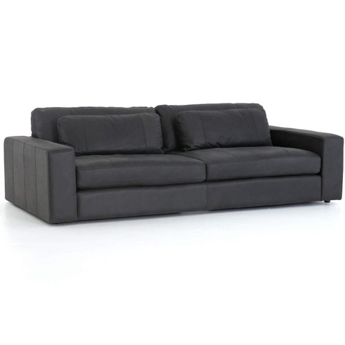 Bloor Contemporary Black Leather Sofa 98""