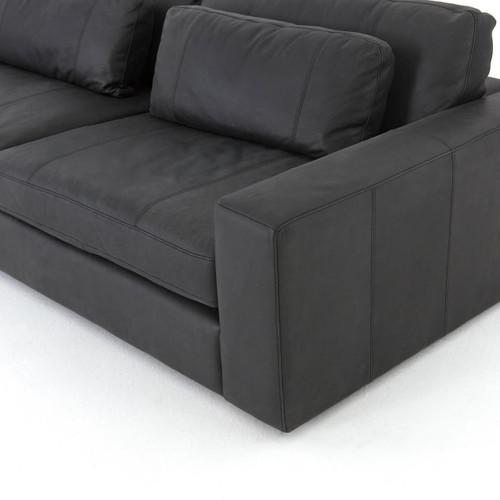 Bloor Contemporary Black Leather Sofa 98\