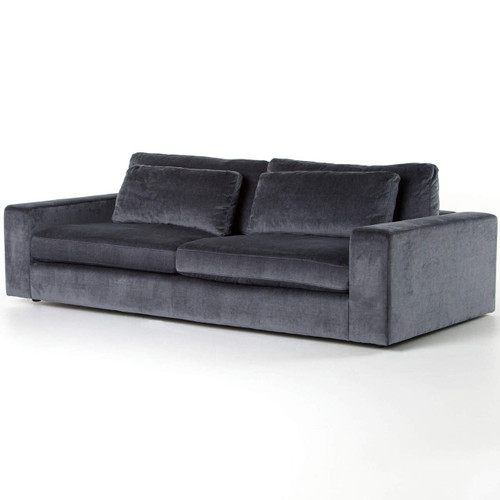 Bloor Contemporary Charcoal Grey Velvet Upholstered Sofa 98""