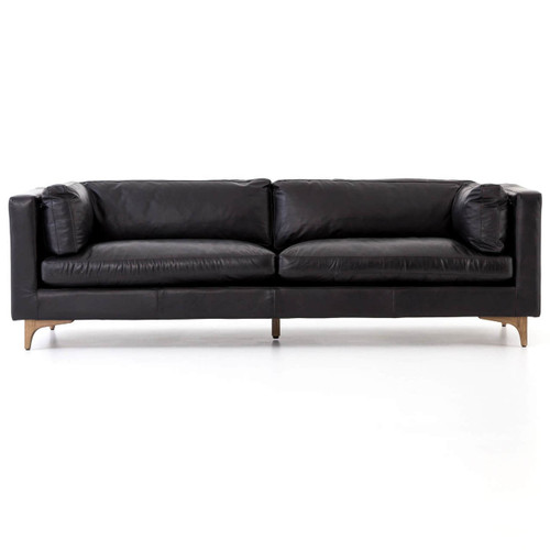 Beckwith Mid Century Modern Black Leather Cushion Back Sofa 94\
