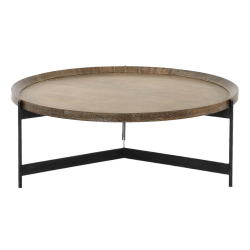 """Nathaniel Brass and Oak Round Tray Coffee Table 40"""""""