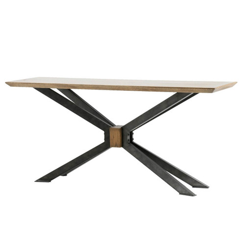 """Industrial Spider Leg Brass Clad Top Console Table 65"""""""