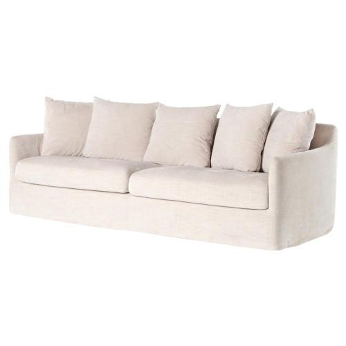 """Banks Coastal White Slipcover Rounded Sofa 91"""""""