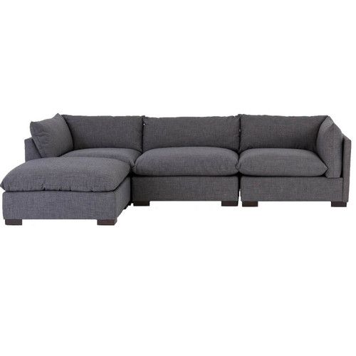 Westworld Modern Gray 4-Piece Modular Lounge Sectional Sofa