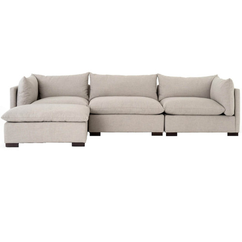 Westworld Modern Beige 4-Piece Modular Lounge Sectional Sofa