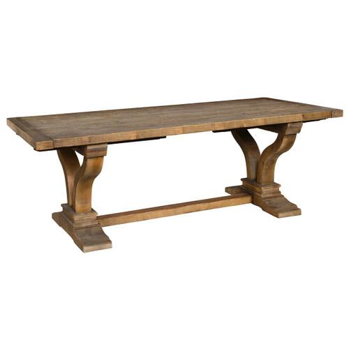 "Spanish Farmhouse Reclaimed Wood Trestle Extension Table 120"""