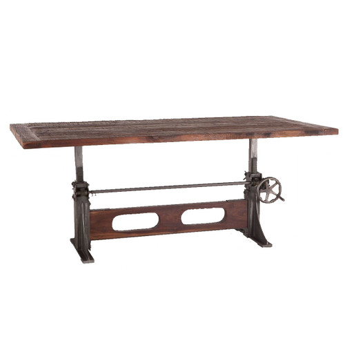 Bronx Industrial Reclaimed Teak Wood Crank Dining Table 84""