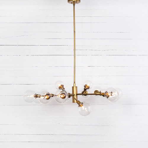 Sputnik Clear Glass Globe Chandelier - Matte Brass