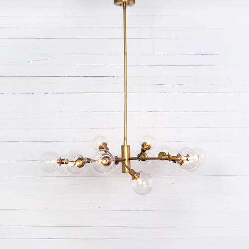 Sputnik Clear Glass Globe Chandelier - Matte Brass