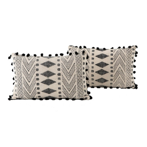 Dhurrie Faded Black Tribal Block Print Lumbar Pillows