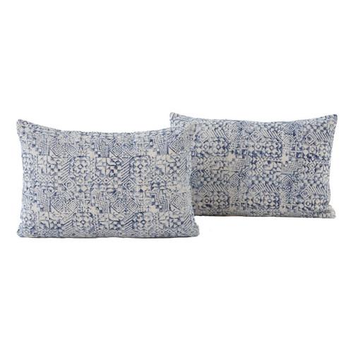 Dhurrie Faded Blue Mosaic Print Lumbar Pillows