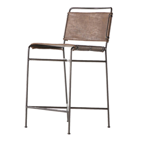 Oxford Distressed Brown Leather Steel Tube Counter Stool
