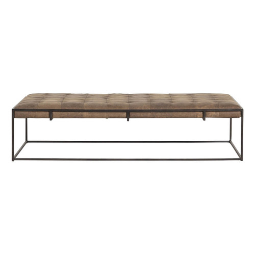 Distressed Leather Ottoman Coffee Table.Oxford Tufted Distressed Umber Leather Ottoman Coffee Table