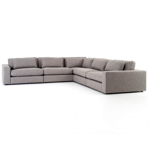 Bloor Contemporary Gray 5 Piece Corner Sectional Sofas 131""