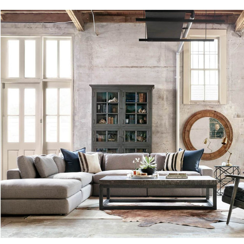 Bloor Contemporary Gray 5 Piece Corner Sectional Sofas 131\