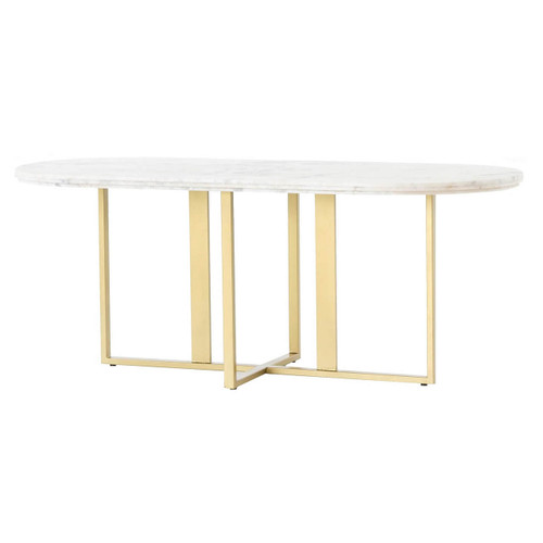 Torino Brass Leg White Marble Oval Dining Table 74""