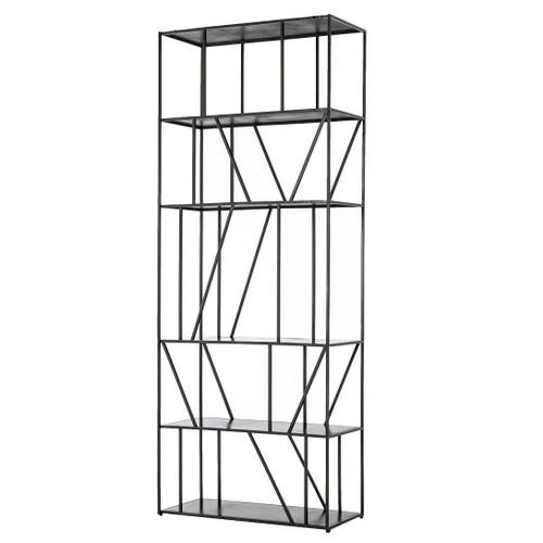 Elly Geometric Iron 5 Shelf Etagere Bookcase