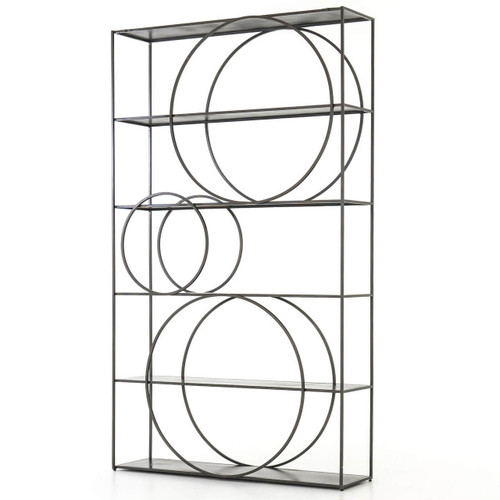 Danny Industrial Loft Geometric 5 Shelf Metal Bookcase