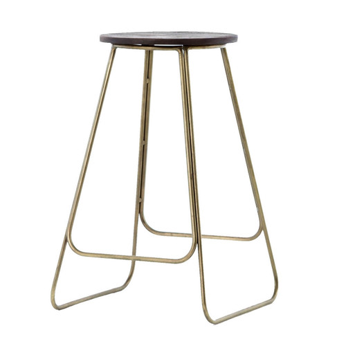 Dior Vintage Brass Wood Counter Stool