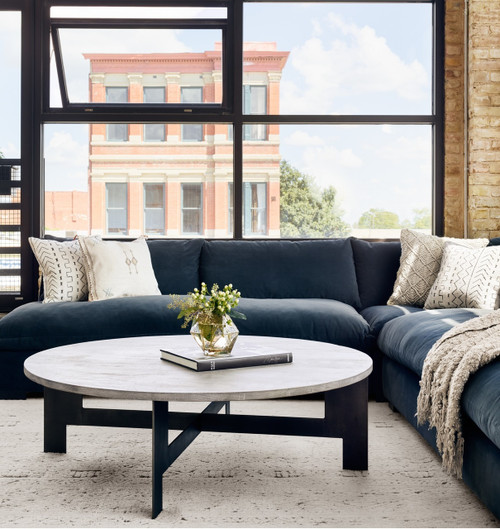 Grant Modern Charcoal Grey Sectional Corner Chair | Zin Home - Fourhands