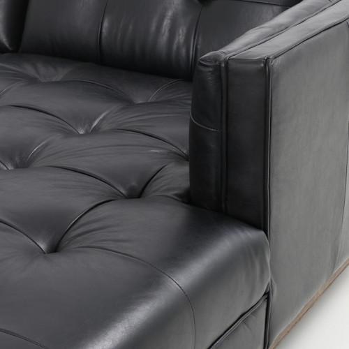 Astonishing Dylan Mid Century Modern Tufted Black Leather Sectional Sofa Inzonedesignstudio Interior Chair Design Inzonedesignstudiocom