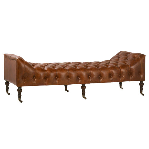 Remington Tufted Leather Curved Bench Daybed