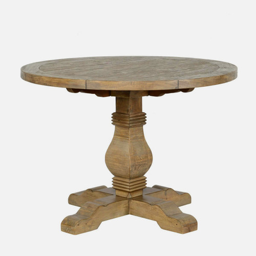 Farmhouse Reclaimed Wood Pedestal Round Table 42""