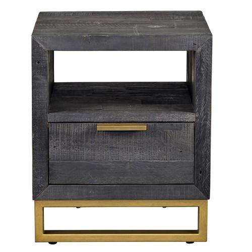Elle Brass Leg Reclaimed Wood 1 Drawer Side Table, Black