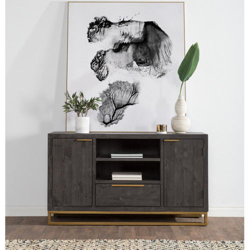"Elle Brass Leg Reclaimed Wood 2 Door Media Sideboard 60"", Black"