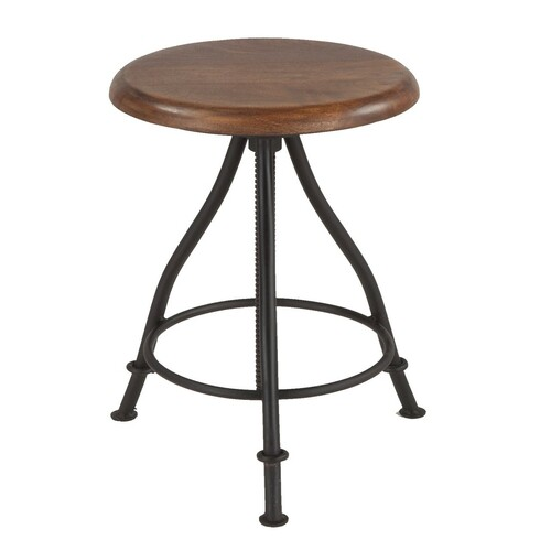 Steampunk Industrial Wood and Iron Crank Adjustable Stool