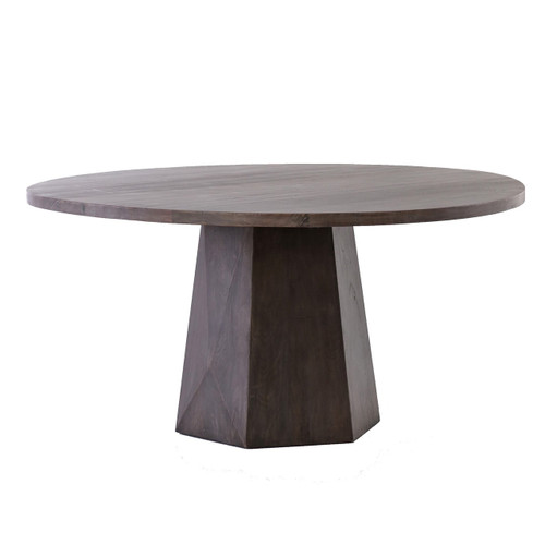 Kemper Reclaimed Wood Coal Grey Round Pedestal Dining Table 60""
