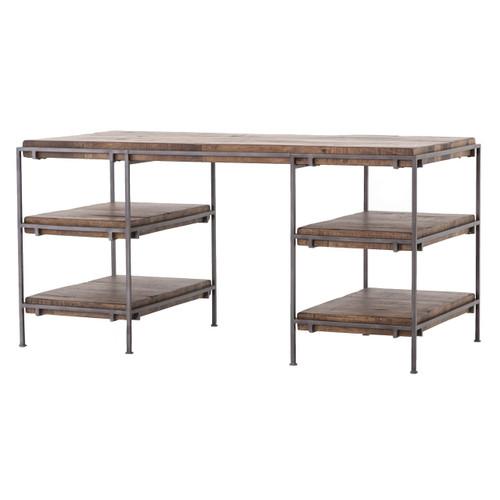"Barton Iron Frame + Slab Wood Shelf Office Desk 60"""