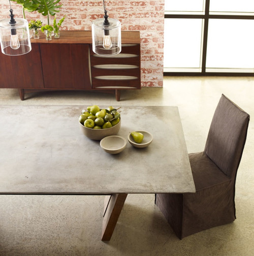 Bonham Reclaimed Wood and Concrete Top Dining Table 78\