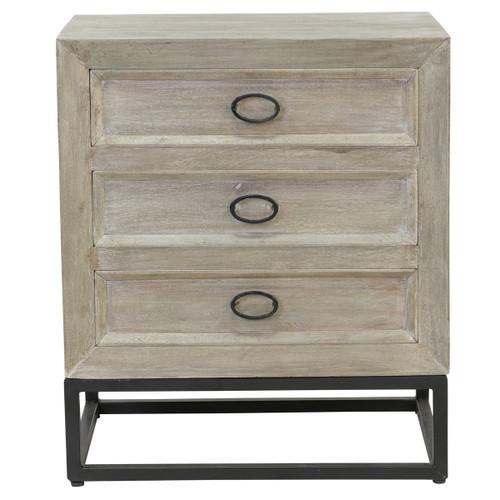Marabella Solid Wood Whitewash 3 Drawer Nightstand