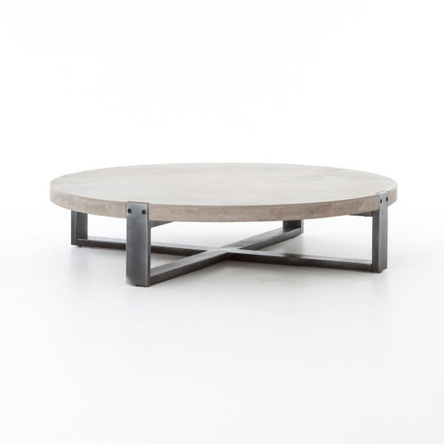 Mercury Concrete + Iron Round Coffee Table 55""