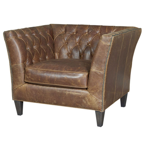 Duncan Tufted Chestnut Leather Accent Chair