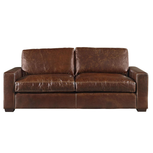 Oliver Brown Leather Sofa 84""