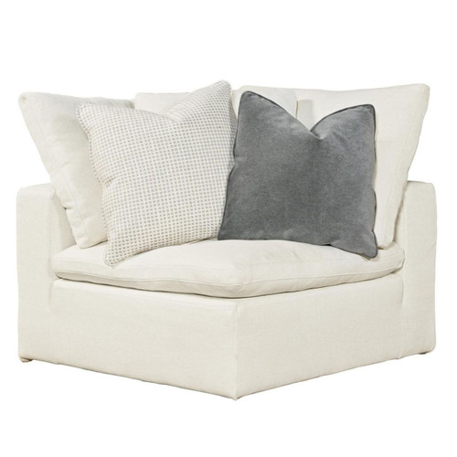 Palmer Coastal Beige Upholstered Corner Chair