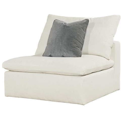Palmer Coastal Beige Upholstered Armless Chair