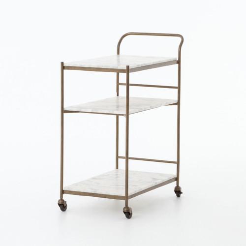 Felix Antique Brass and Marble Bar Cart