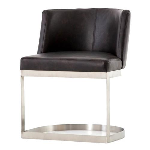 Wexler Black Leather Modern Dining Chair