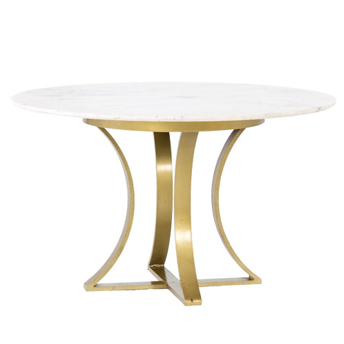 Gage White Marble & Antique Brass Leg Round Dining Table 48""