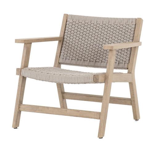 Delano Natural Teak Outdoor Rope Chair- Grey- Brown