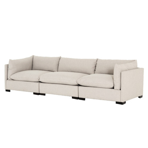 Westworld Modern Beige 3-Piece Lounge Sofa 117""