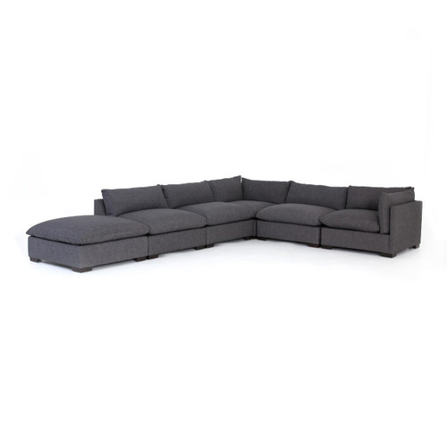 "Westworld Modern Gray 6-Piece Modular Sectional Sofa 158"""