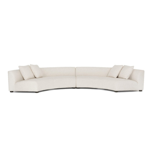 Liam Modern Cream 2 Piece Curved Sectional Sofa
