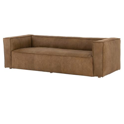 "Nolita Reverse Stitch Tan Leather Sofa 99"""