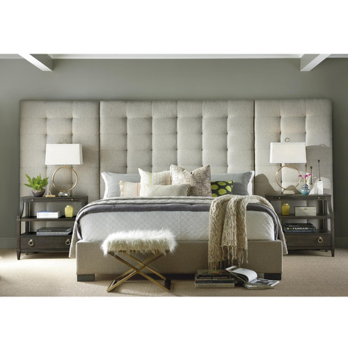 Soliloquy Camille Panel Box-Tufted Grey Fabric Upholstered Queen Bed,788210B